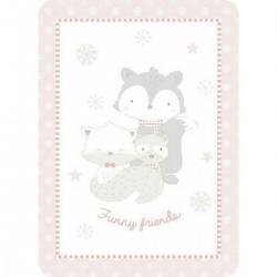 Κουβέρτα βελουτέ Funny friends 110x140 pink