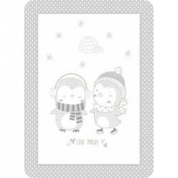 Κουβέρτα βελουτέ Love pingus 110x140 grey