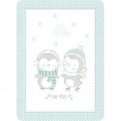 Κουβέρτα βελουτέ Love pingus 110x140 blue